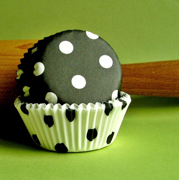 Cupcake Liners Baking Cups (50 )Mini Black and White Dot