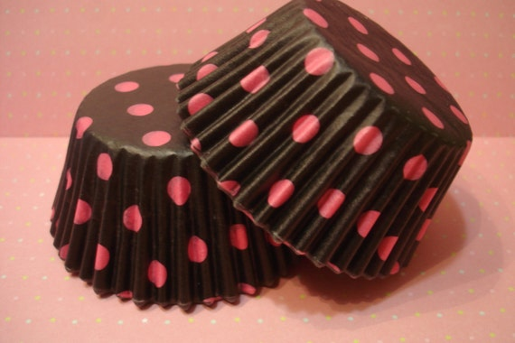 Cupcake Liners - Baking Cups - Black with Pink Polka Dot (100)