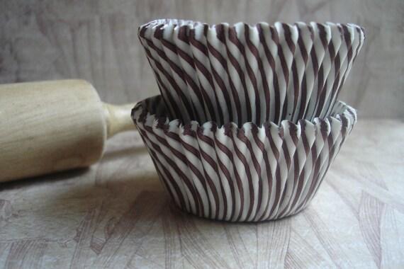 "Cupcake Liners - Baking Cups "" Brown Stripe "" Standard Cupcake Liners (50)"
