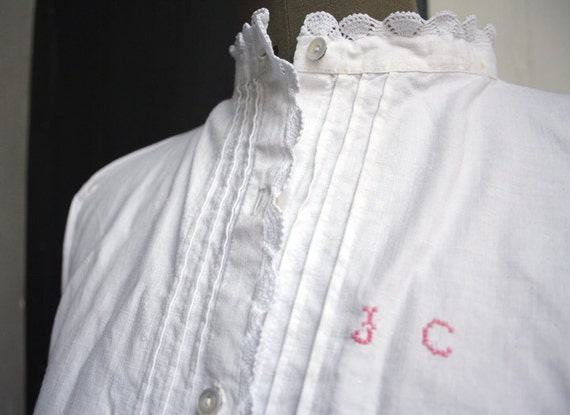 Antique Cotton Blouse with Cross-stitched Initials. Crocheted lace.