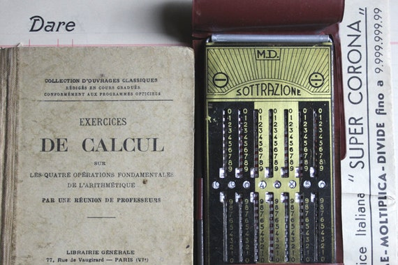 For my Mathematician Best Friend-Vintage Italian CALCULATOR & Antique CALCULATOR french book