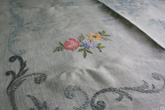 RESERVED-Vintage floral tea table cloth stamped. Ready to embroider. Pale green linen