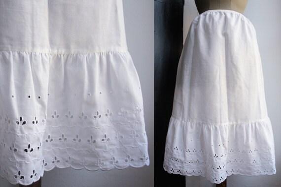 Vintage Italian Skirt-petticoat. White Eyelet Cotton.