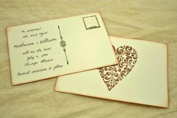 Vintage Save the Date Postcard - Set of 20 - Art Deco Heart - Wedding