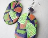 Cosmic swirl purple, neon orange, hot  pink,  light green long earrings. Spring avangard. Wire wrapped