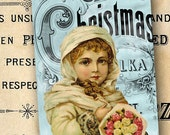 "Vintage French Chic Christmas Tags ""Girl with Bouquet"" by No. 9"