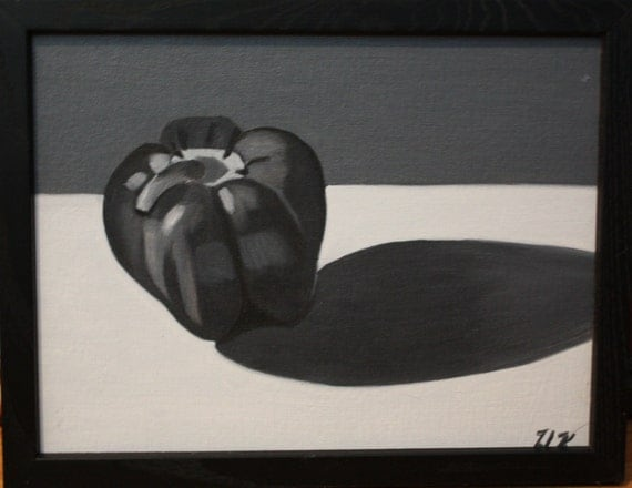 Black and White Bellpepper--oil painting on canvas board, original, one of a kind, framed