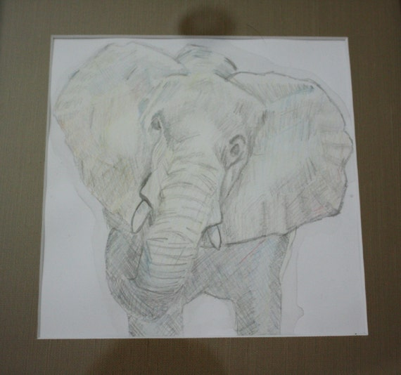 Elephant--original, one of a kind, watercolor pencil on paper, matted and framed