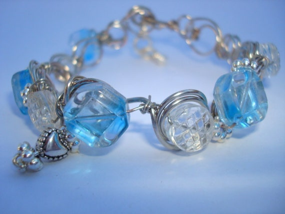 Bracelet - Blue and Crystal - Wire Sculpture - Circles - Free Shipping in the USA
