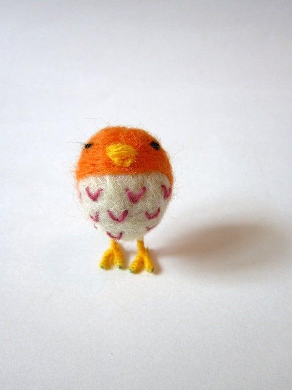 Felted Bird - Orange and Pink