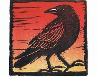 Crow Block Print