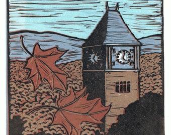 Plymouth State University Clock Tower Block Print