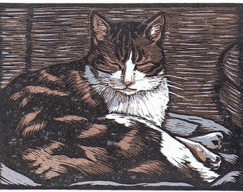Napping Cat Block Print