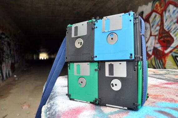 Geeky Floppy Disk Bag, Lunch Box, Purse, Card Bag, Blue, Green, Black