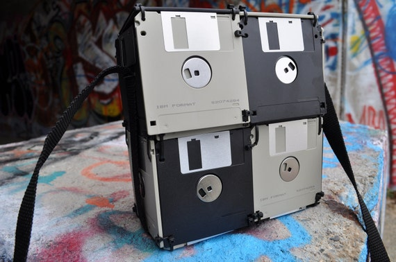 Checkered Geeky Floppy Disk Bag, Lunch Box, Purse, Card Bag, Nerd Girl, Nerd Boy