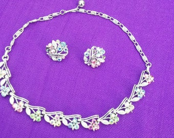 CLEARANCE Gorgeous LISNER Necklace and Earrings Ladies Set Aurora Borealis Rhinestones Floral Signed Shop for Christmas