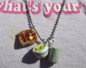 Whimisical Polymer Clay Breakfast Charm Necklace