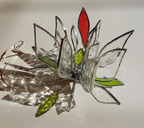 3D Flower Lily. Stained Glass Suncatcher.