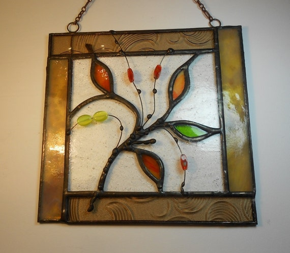 Abstract Art With Leaves. Stained Glass Panel. Framed Art.