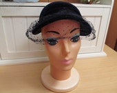 Vintage Hat Blue Velvet with Veil 1940s-50s