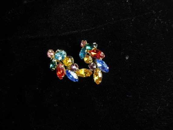 Vintage Earrings, Rhinestone Jewelry