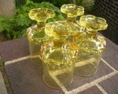 Yellow Franciscan Crystal Madeira Glasses Set of 4