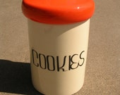 Vintage Cookie Jar - Large with Orange Lid and Awesome Retro Font