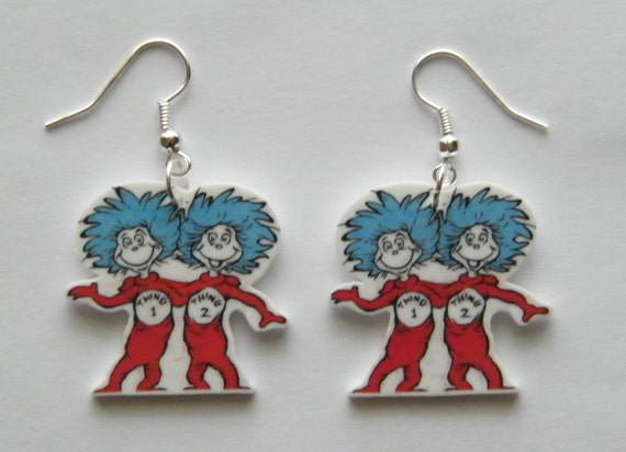 dr seuss earrings thing 1 and thing 2 earrings cat in by
