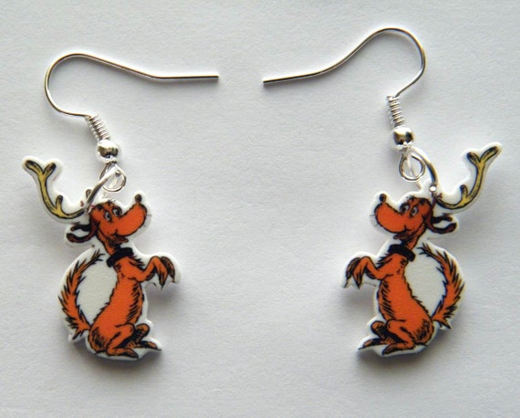 Dangle Earrings jewelry  Dr Seuss The Grinch Max with Antlers Earrings
