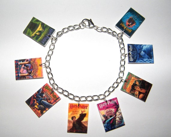 Harry Potter  Book Cover Charm Bracelet, Voldemort Deathly Hallows, Hogwarts, Half Blood Prince