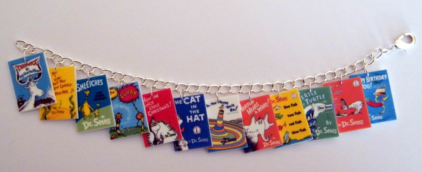 Dr. Seuss Book Cover Charm Bracelet Cat in the Hat The by Murals4U