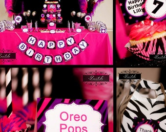 ROCK STAR Party - Rockstar Party - Zebra Party - PRINTABLE Personalized Party Package - Dance Party
