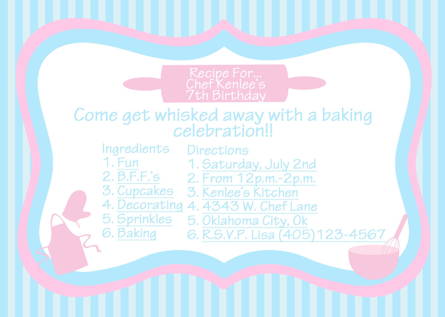 Items Similar To Baking Party Invitation Printable