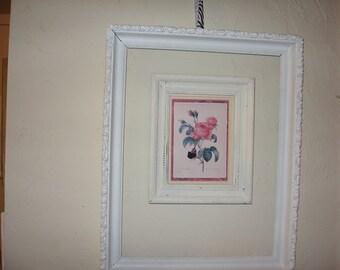 Framed vintage rose print