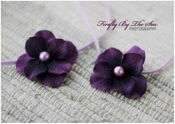 RTS Special edition TWIN SET flower headbands in violet and purple tones with pearl center on skinny elastic great photo prop