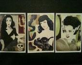 Sticker Set 5: Vampira, Betty Paige and Bride of Frankenstein