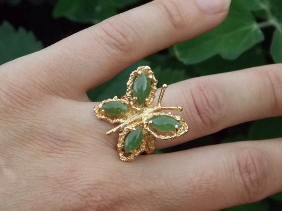 SALE  Vintage Jade Butterfly Ring