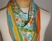 Vintage bright floral print scarf