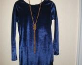 Reserved for RadicallyRetro-Vintage blue velour party dress