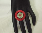 Red Heart Button Ring Adjustable Band