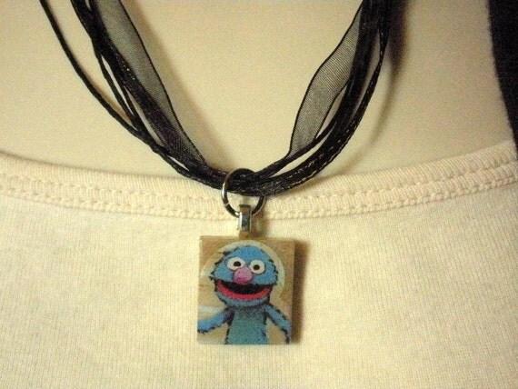 Sesame Street Grover Scrabble Tile Pendant Black Ribbon Necklace