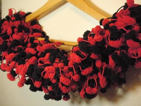 Red and Black Pom Pom Scarf