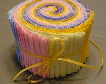 Quilt Fabric Jelly Roll - Pastel fabric strips