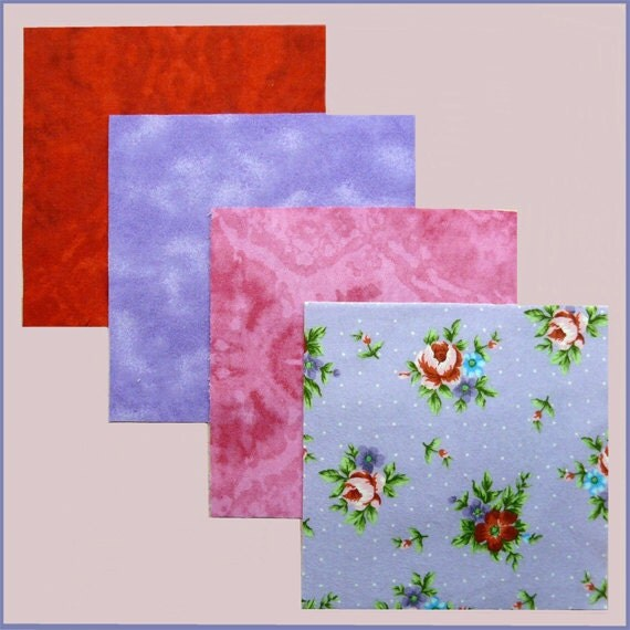 Flannel Quilt Squares - Roses