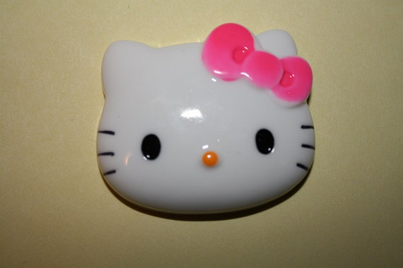 Large, kawaii kitty cabochon w/ hot pink bow - 1 piece set (40mm) - MMS