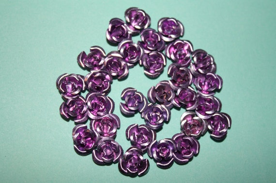 Small lavender aluminum roses - 30 piece set (8mm) - MMO