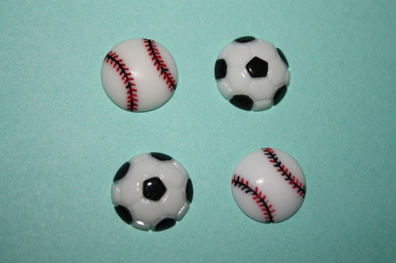 Kawaii baseball & soccer cabochons - 4 piece set (14mm) - MMC