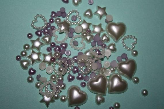 Softly beautiful violet & white pearlized heart and no-hole flatback beads mix - 100 piece set - MML