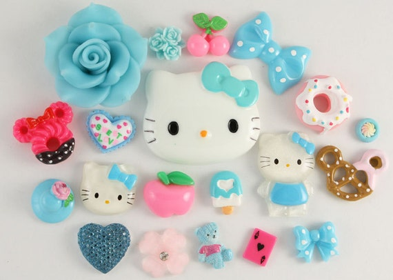 """SUPER SALE - """"Sweet Things"""" Blue / Pink Cabochons Mix - 20 piece set - SS1"""