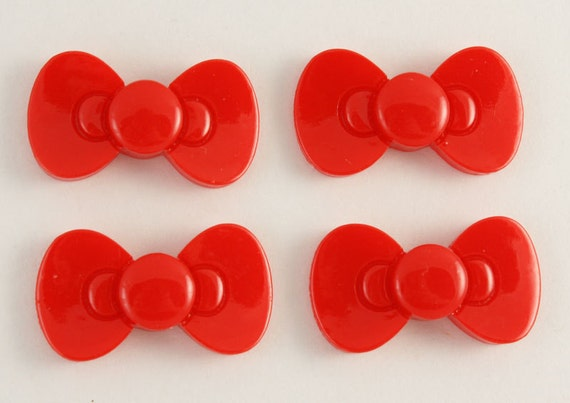 Classic and cute red bow cabochons - 4 piece set (30mm) - MMP